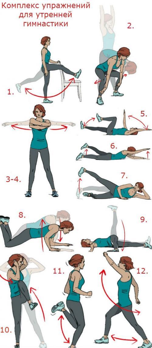 Утренняя зарядка комплекс упражнений в картинках. 12 упражнений для утренней зарядки